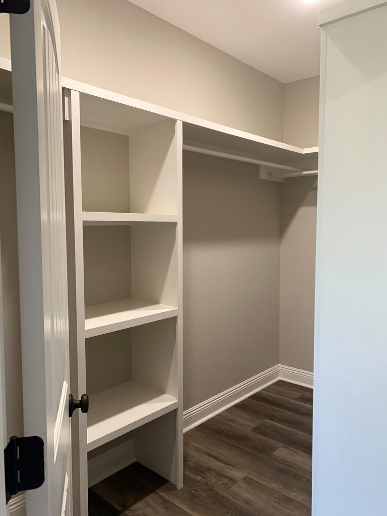 custom shelving for walking closet